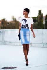 Denim pencil skirt street style 2