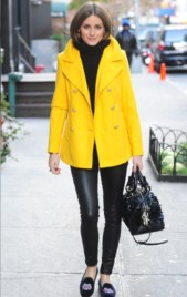 olivia-palermo-street-style-yellow-coat-slippers-november-2012