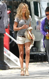 Jennifer Aniston is all smiles on the set of 'The Bounty' in NYC