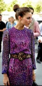 Olivia Palermo purple dress and leopard belt