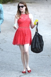 A fashionable Emma Roberts leaves a private party in Beverly Hills