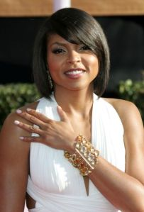 **UK AND USA USE ONLY** Taraji P. Henson on the red carpet prior to the 15th annual Screen Actors Guild Awards, held at the Shrine Auditorium