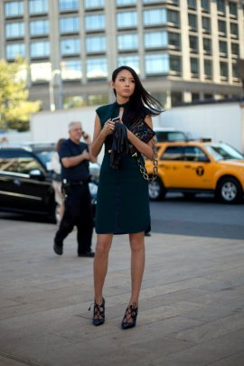 green dress new york fashion week street style fashionistas texting on phones Lincoln center new york city september 2012 0 - 1